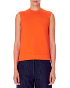 Carolina Herrera Cashmere-Silk Sleeveless High-Neck Knit Shell
