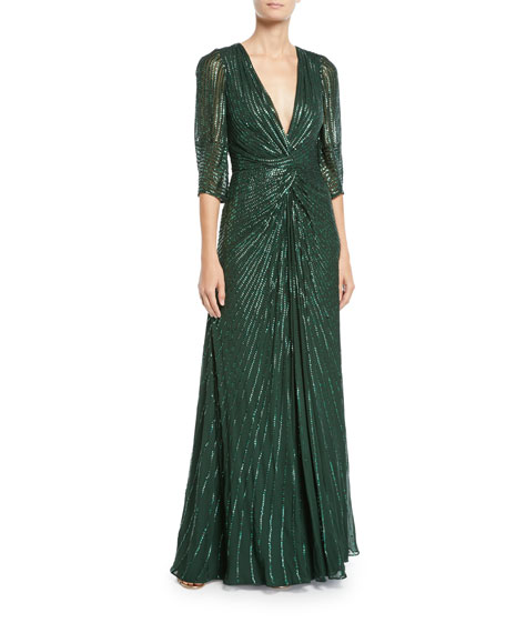 Jenny Packham Tana 3/4-Sleeve Beaded V-Neck Knotted Gown