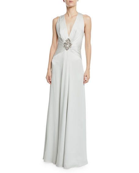 Jenny Packham Bali V-Neck Embellished Wrapped Satin Gown