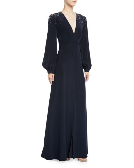 Ahluwalia Vivietta Embellished-Shoulder Long-Sleeve Gown