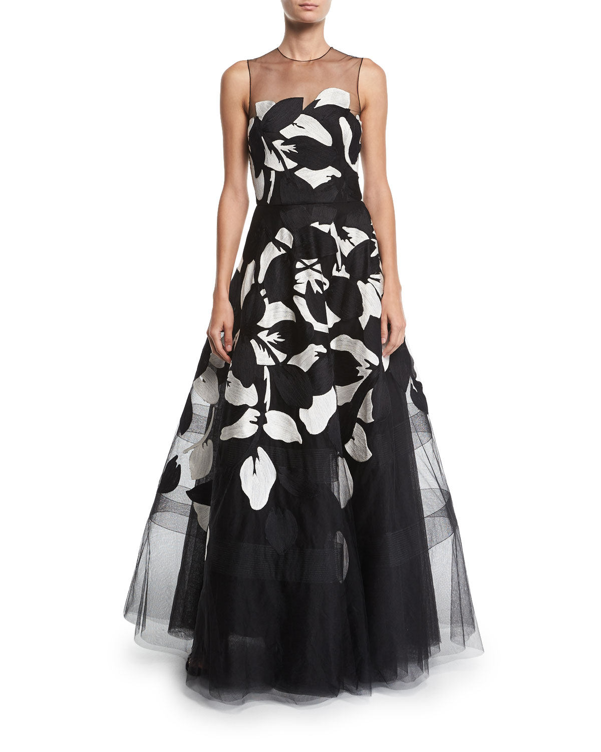 AHLUWALIA Girona Floral-Embroidered Tulle Illusion Gown in Black/White