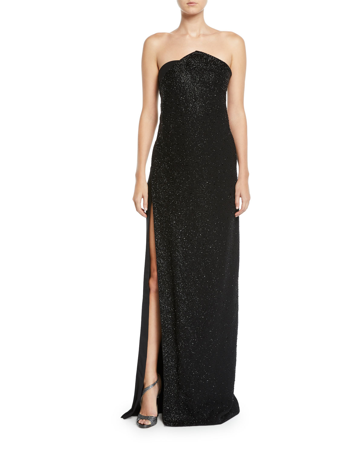 AHLUWALIA Chalet Strapless Slit-Skirt Shimmered Column Gown in Black