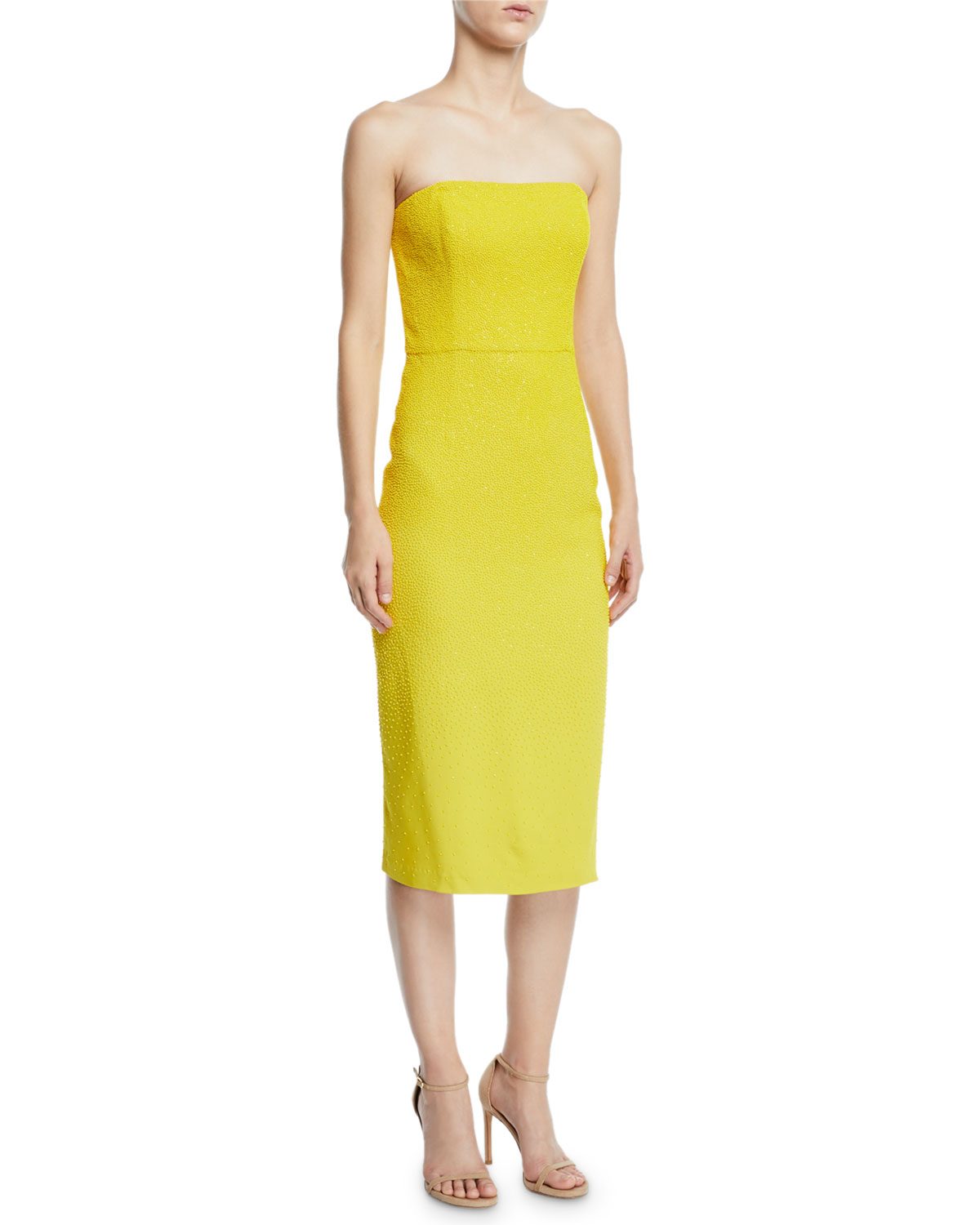 AHLUWALIA Yria Shimmery Strapless Knee-Length Gown in Yellow