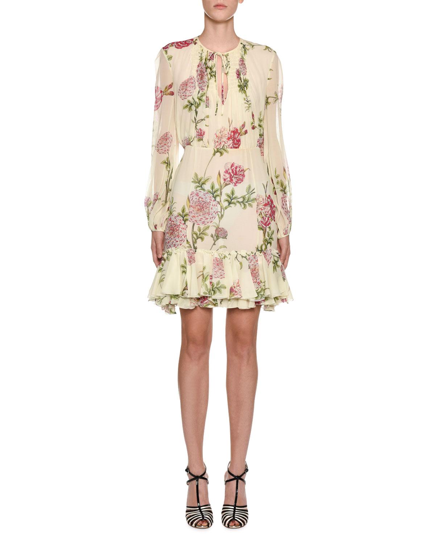GIAMBATTISTA VALLI Smocked-Front Floral Peasant Blouse in Multicoloured