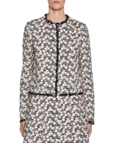 Fringe-Hem Floral-Embroidered Tweed Jacket