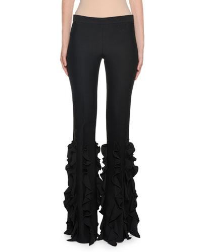 Ruffled-Leg Mid-Rise Pants