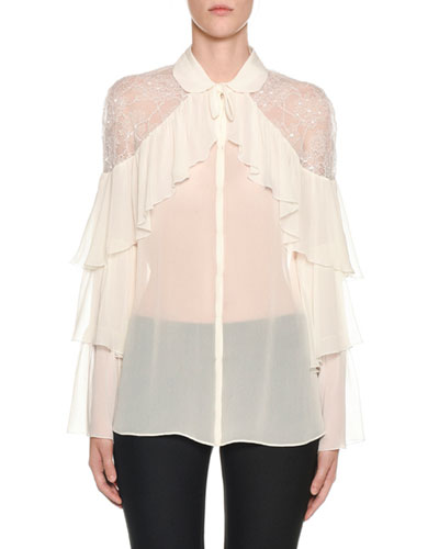 Tiered-Ruffled Lace-Yoke Chiffon Blouse