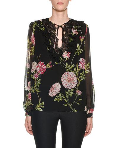 Lace-Neck Long-Sleeve Floral Peasant Blouse