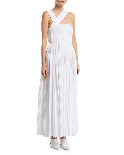 Norah One-Shoulder Pleated-Poplin Gown