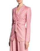 Gabriela Hearst Nutter Wrapped Tie-Waist Blazer, Blush and