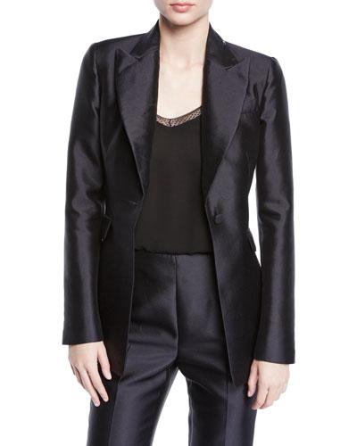 Serge Silk-Wool Pearl-Embellished Blazer