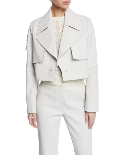 Bailey Cropped Tab-Back Trench Jacket