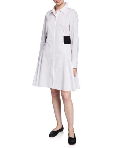 Devyn Elastic-Side Button-Front Shirtdress