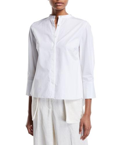 3/4-Sleeve Mandarin-Collar Button-Front Blouse