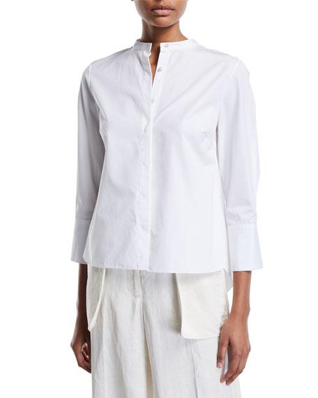 Partow 3/4-Sleeve Mandarin-Collar Button-Front Blouse