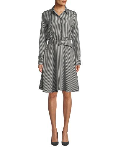 Striped Viscose Combo Flare Shirtdress