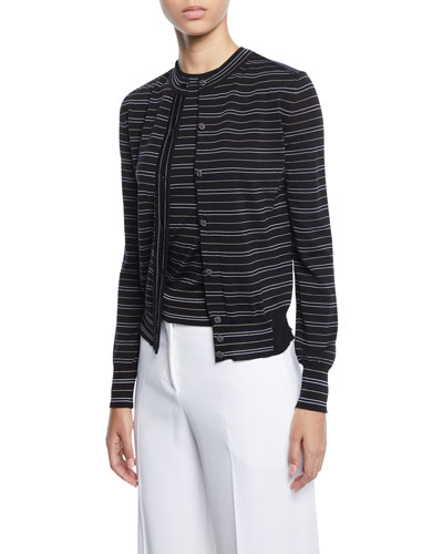 Striped Button-Front Cardigan