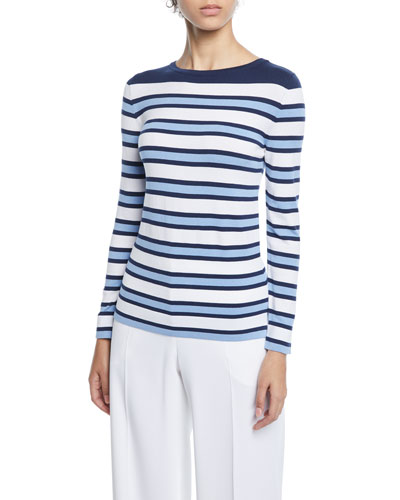 Striped-Knit Long-Sleeve Top