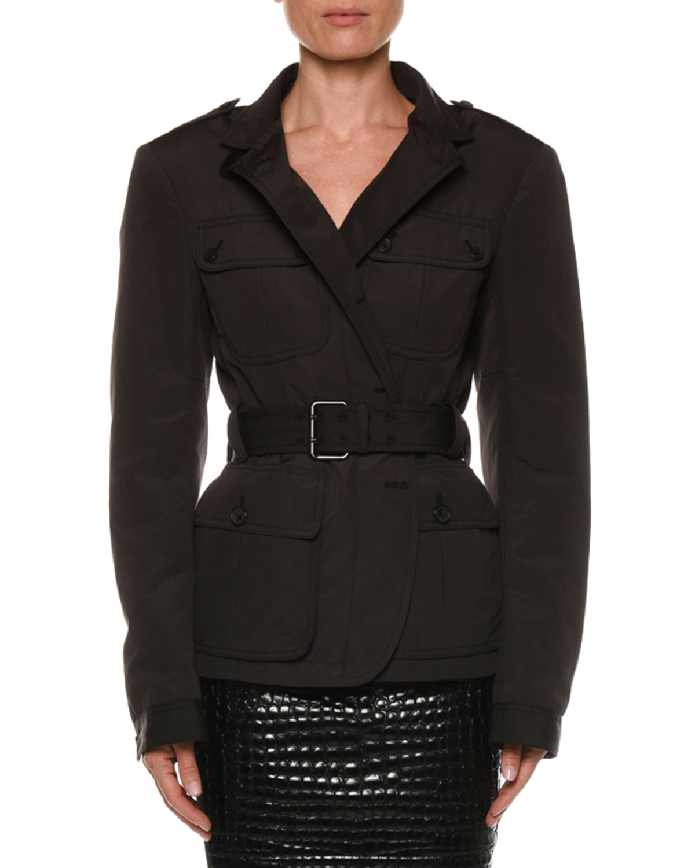 Belted Safari Jacket, Black