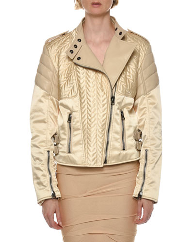 Satin & Leather Biker Jacket