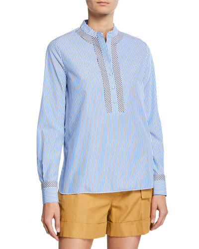 Mandarin-Collar Button-Front Shirt