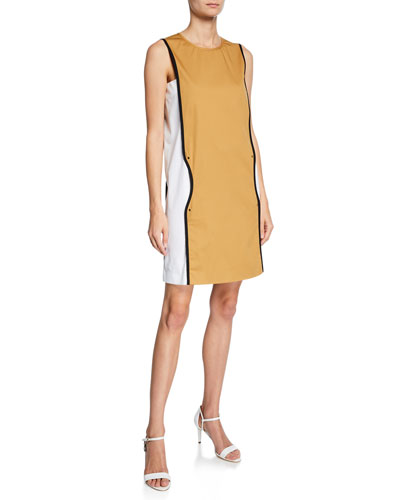 Sleeveless Colorblocked Piped Dress