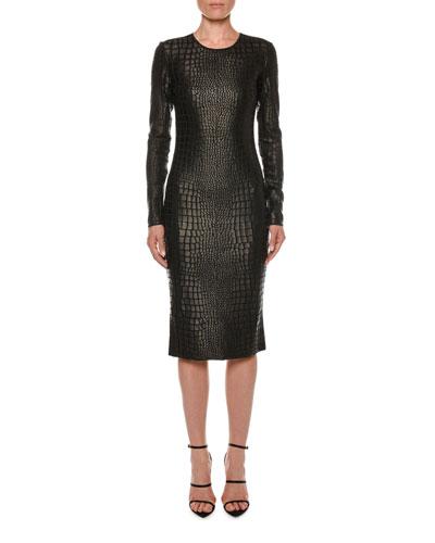 224a2c73 Quick Look. TOM FORD · Long-Sleeve Crocodile-Print Sheath Dress