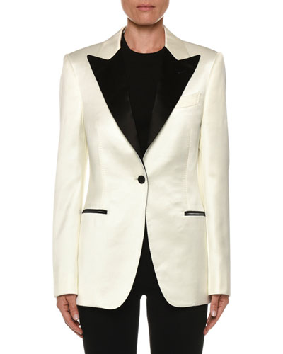 Contrast Lapel Tux Jacket, White/Black