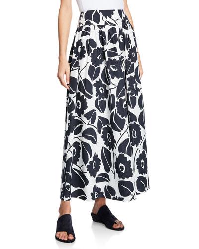 Tropical Floral Dirndl-Waist Skirt