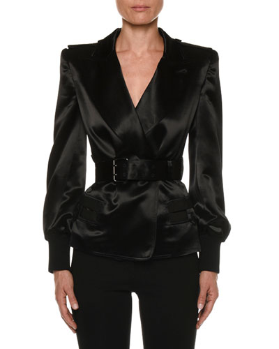 Double-Breasted Belted Satin Blazer