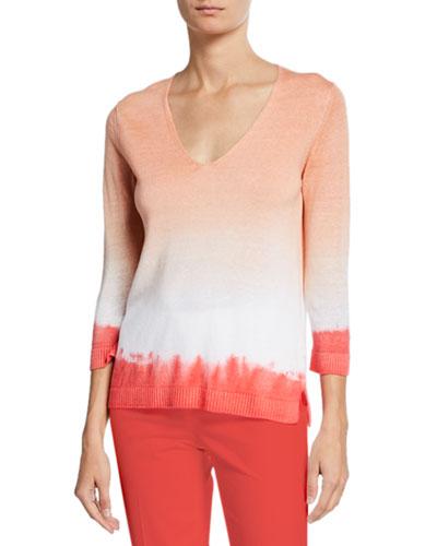 Linen Cotton Tie-Dye V-Neck Sweater