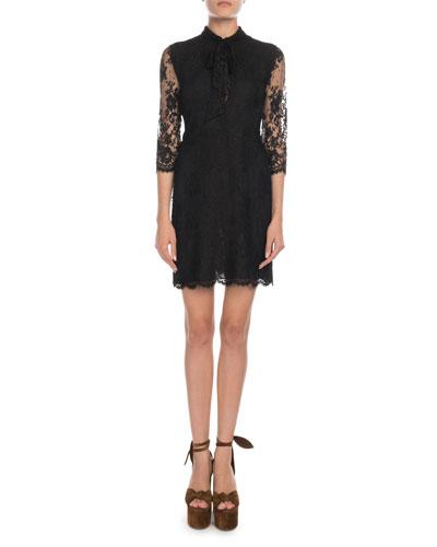 Vintage-Lace 3/4-Sleeve Dress