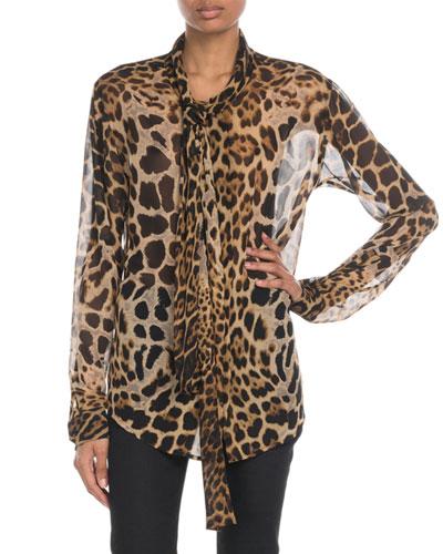 Tie-Neck Leopard Chiffon Blouse