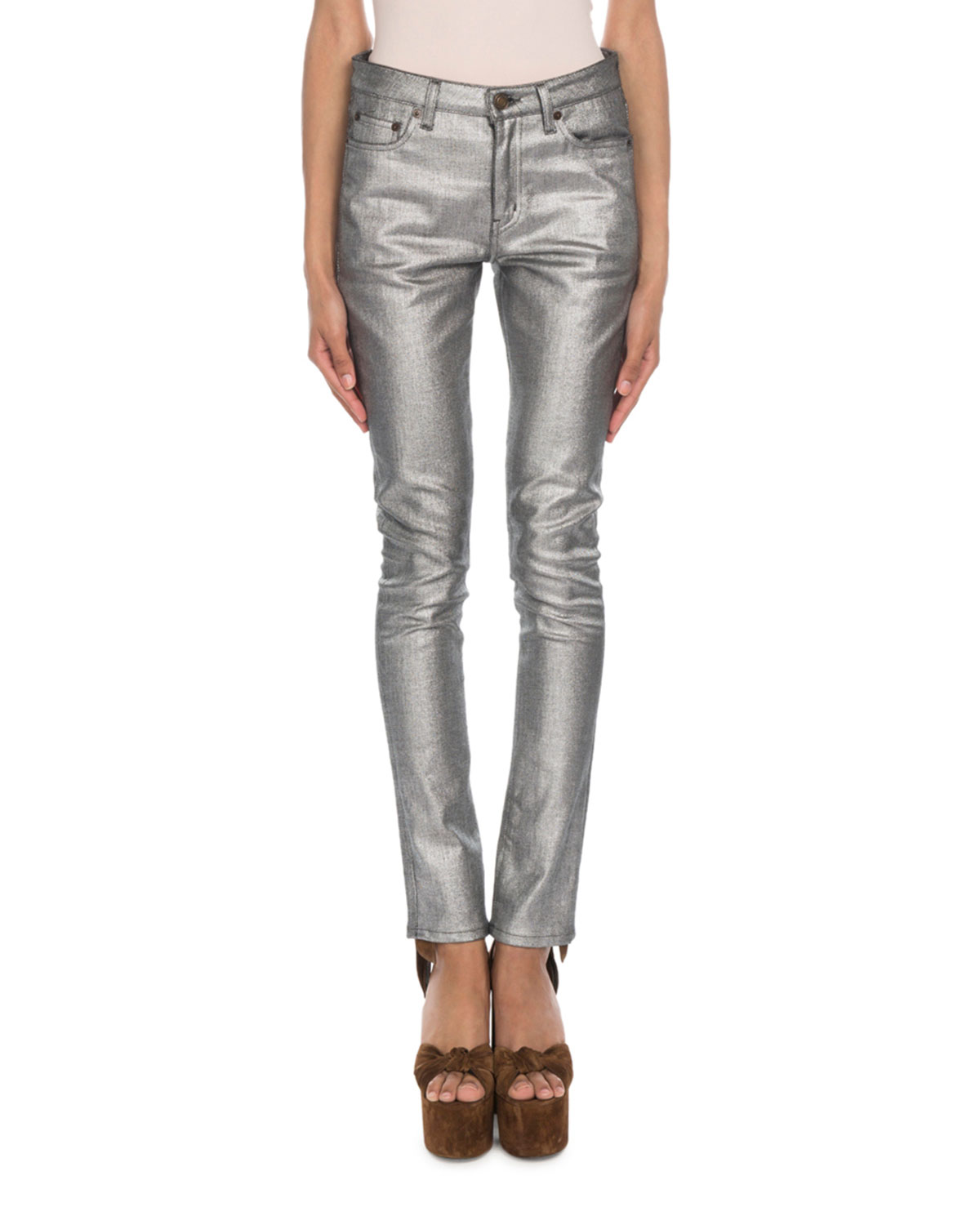 High-Rise Metallic Skinny Jeans in Silver