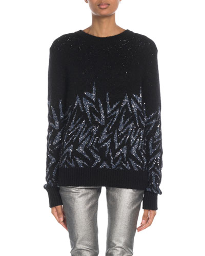 Shimmered-Boomerang Jacquard Sweater