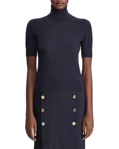 Cashmere Short-Sleeve Turtleneck Sweater