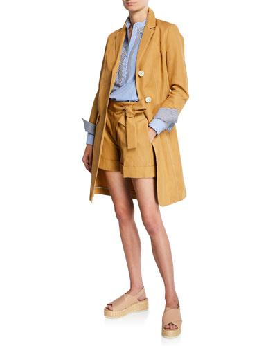 Cotton Canvas Stripe-Trim Long Coat