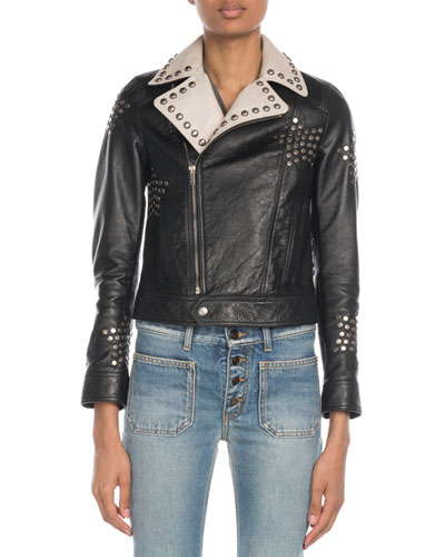 Star-Studded Contrast Collar Leather Jacket