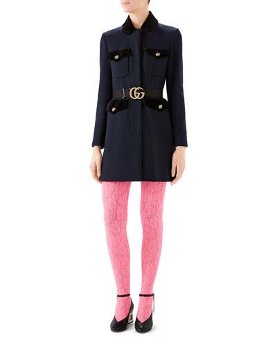 Belted Velvet-Trim Wool Coat