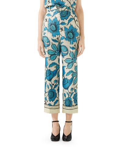 Watercolor Floral Silk Pants