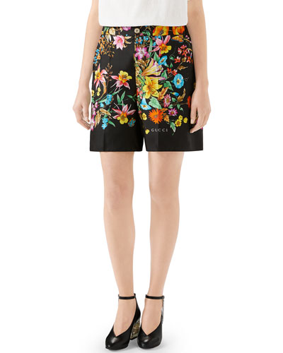 Bouquet Carre Silk Twill Shorts