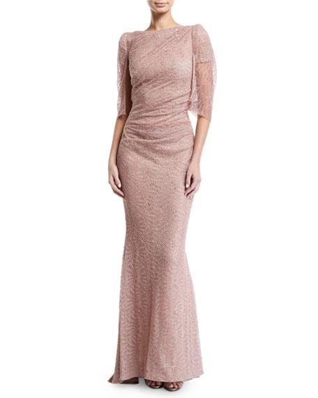 Talbot Runhof Draped Sheer-Sleeve Metallic Lace Gown
