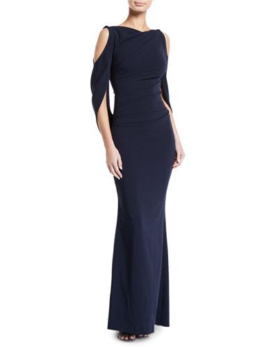 Ponceau Open-Shoulder Draped-Waist Gown