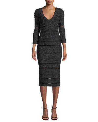3/4-Sleeve Shimmer V-Neck Dress