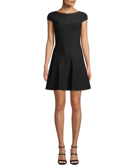 Herve Leger Cap-Sleeve Jacquard Flair-Skirt Dress