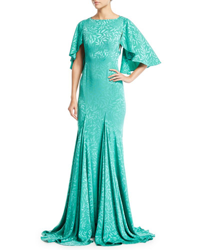 Satin Crepe Jacquard Cape-Sleeve Gown