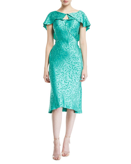 Zac Posen Leaf-Jacquard Crepe Ruffled-Capelet Dress