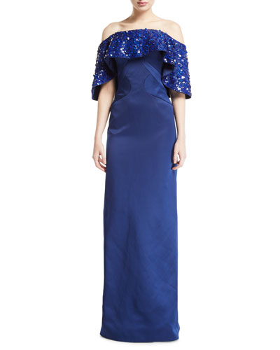 159adc0e84fdd Blue Silk Evening Gown | Neiman Marcus