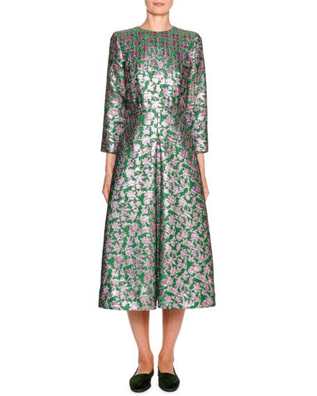 Double J Little Miss Floral Jacquard 3/4-Sleeve Midi Dress