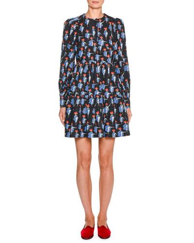 Cancan-Print Long-Sleeve Dress